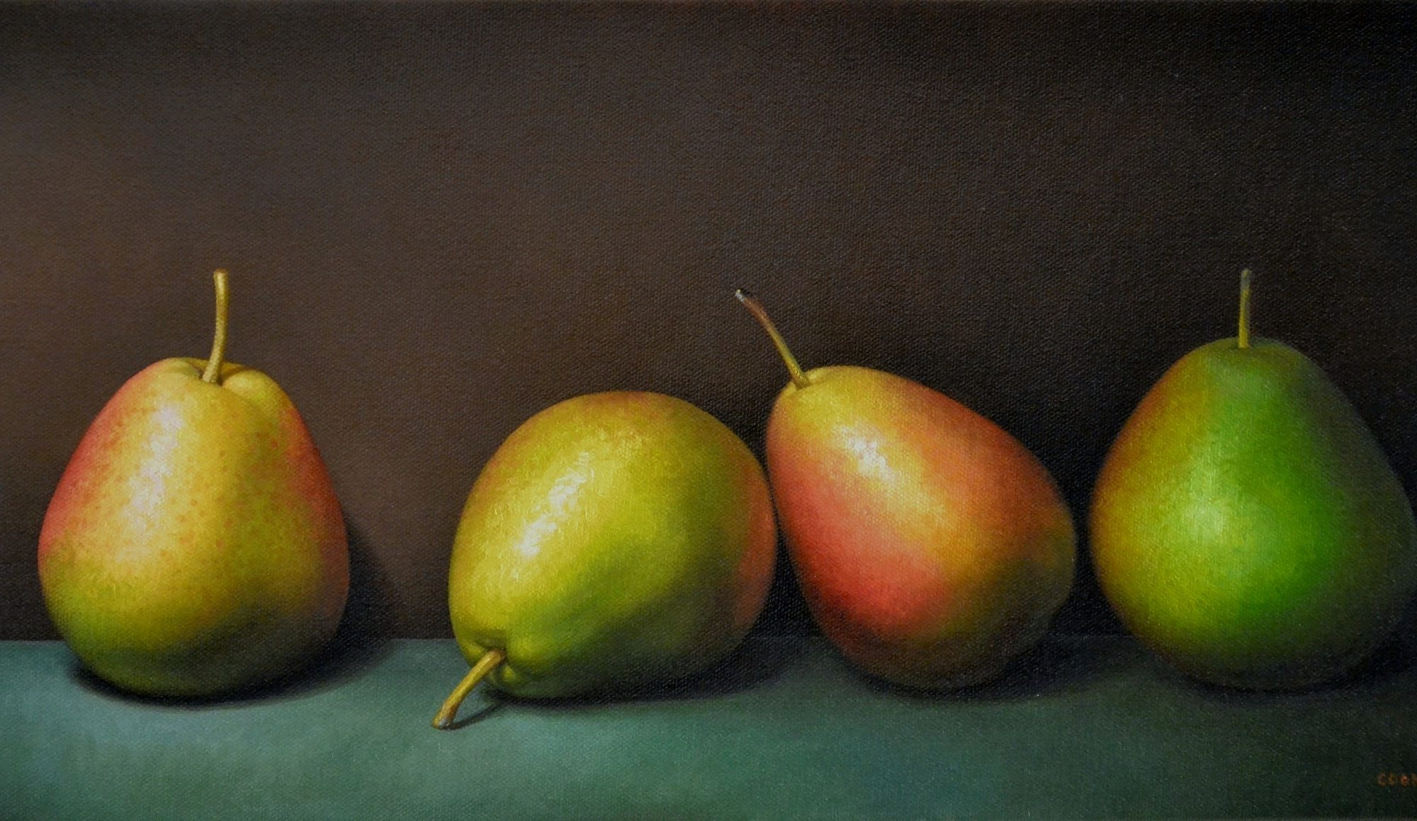 Four Forelle Pears 10″ x 20″ sold