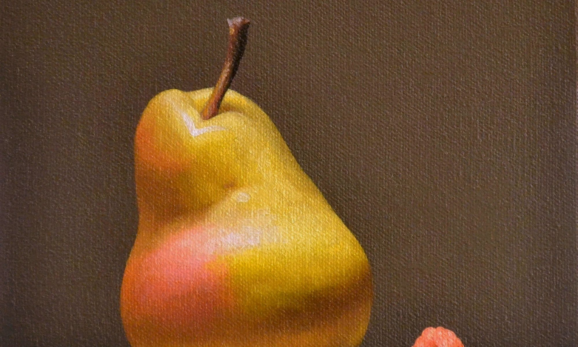 Pear and Raspberry 8″ x 8″ sold