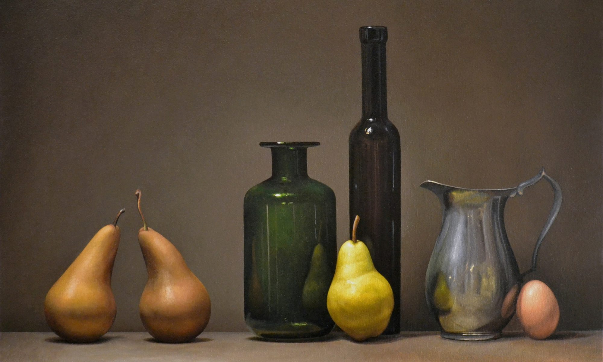Still Life with Pears, Bottles and Egg 24″ x 30″ sold