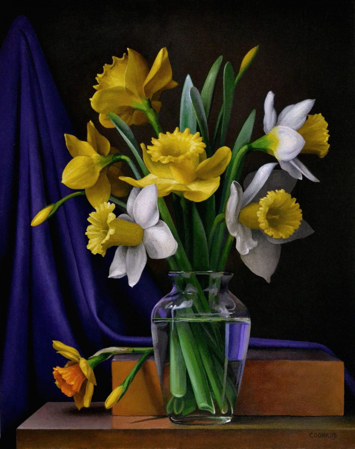 Daffodils with Purple Drape 20″ x 16″ sold