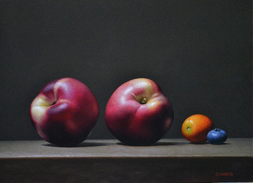 """2 Nectarines, Kumquat, and Blueberry12"""" x 16""""sold"""
