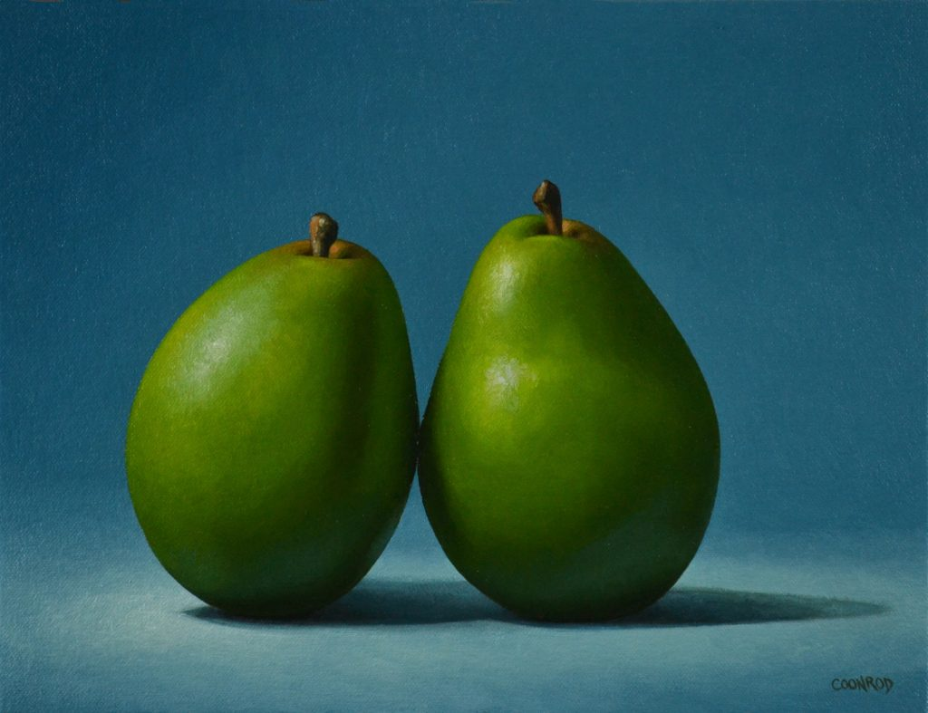 """2 Pears on Blue9"""" x 12""""   sold"""