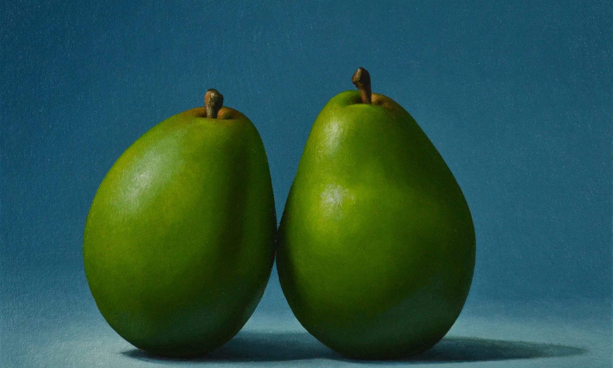 """2 Pears on Blue9"""" x 12"""""""
