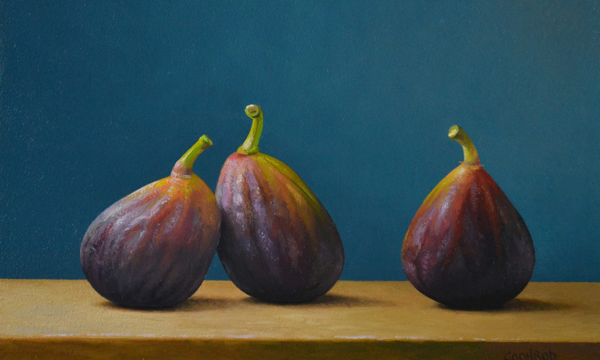 3 Figs on Turquoise 6″ x 9″ sold