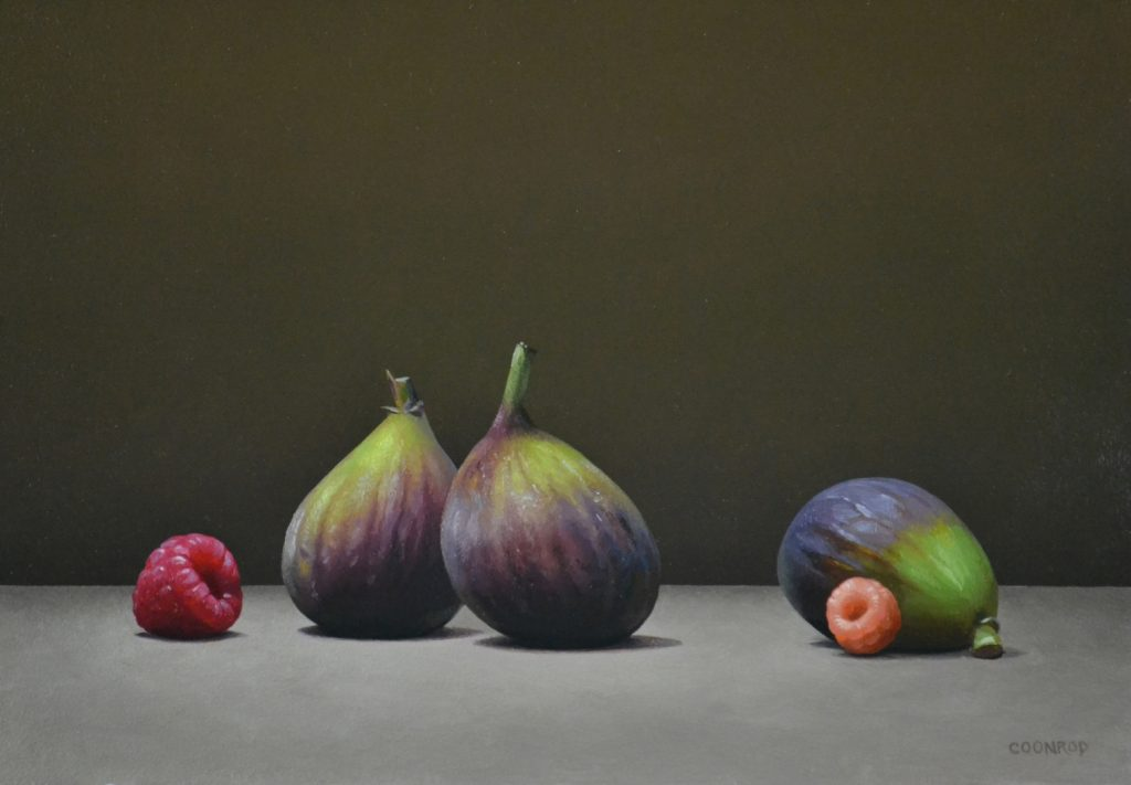 "3 Figs and 2 Raspberries   9"" x 12"""