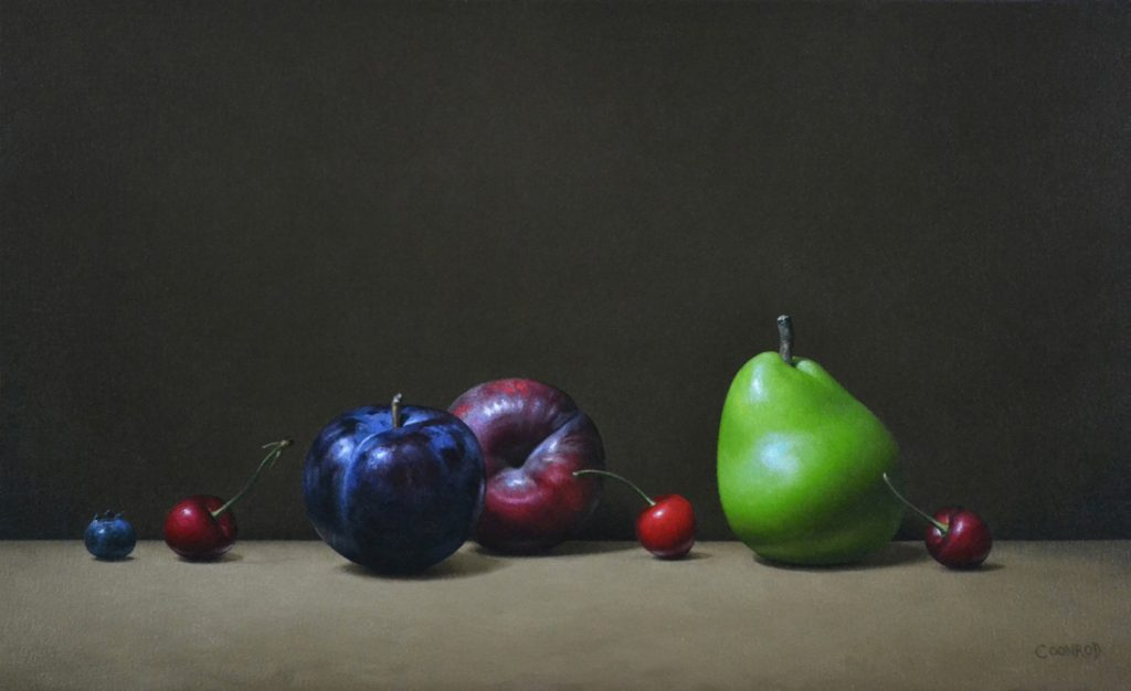 """2 Plums, 3 Cherries, a Pear and Blueberries14"""" x 24""""sold"""