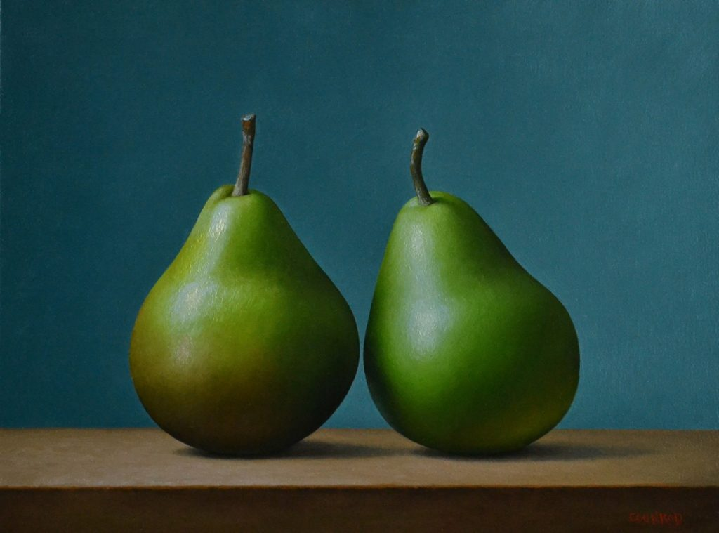 "2 Pears on Blue   9"" x 12"""