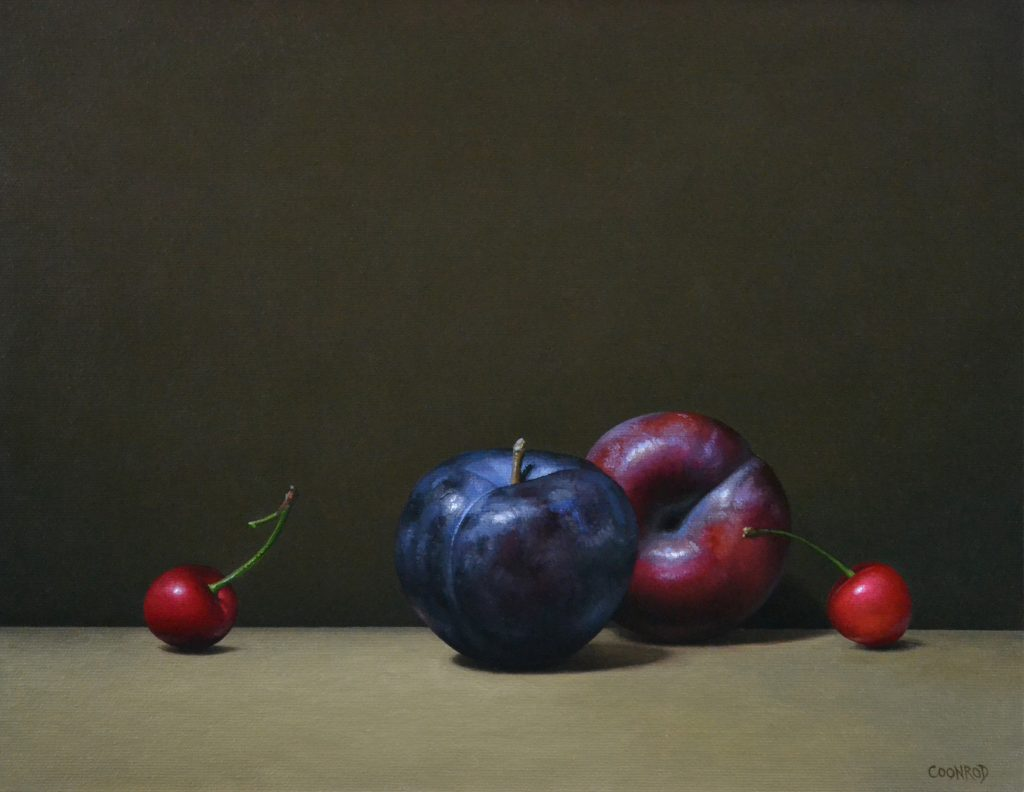 """2 Plums and 2 Cherries11"""" x 14"""""""
