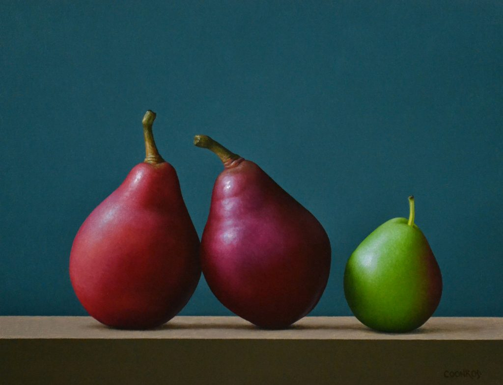 "2 Red and a Forelle Pear   11"" x 14""   sold"