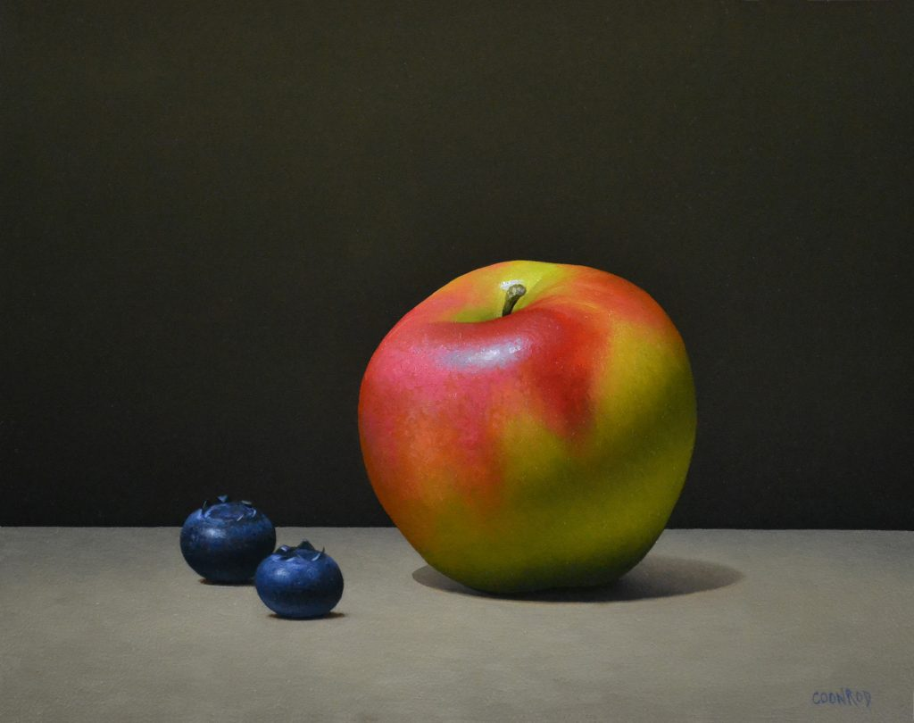 """Apple and 2 Blueberries8"""" x 10"""""""
