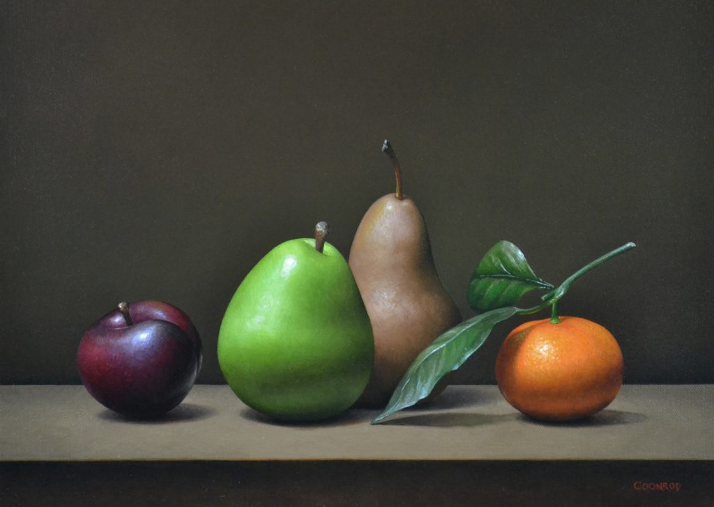 "Plum, Pears, and Mandarin Orange   12"" x 16""   sold"