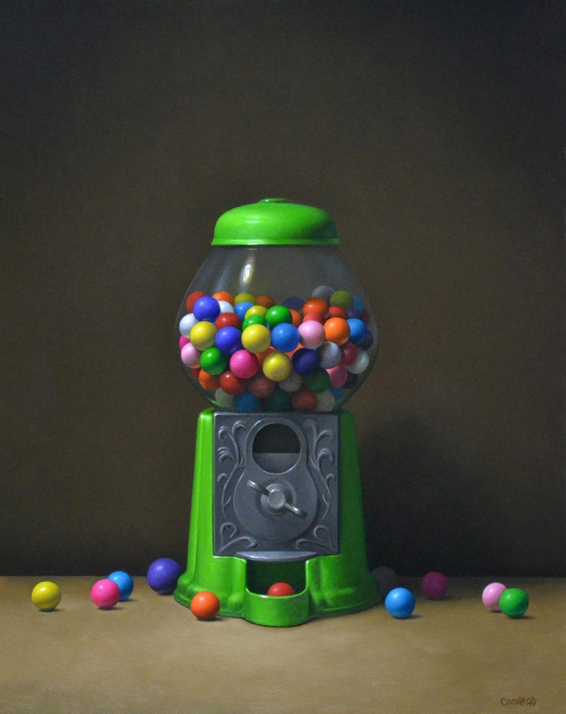 "Green Gumball Machine 20"" x 16"" sold"