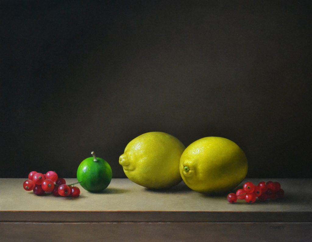 """2 Lemons, a Lime, and Red Currants14""""x18""""sold"""