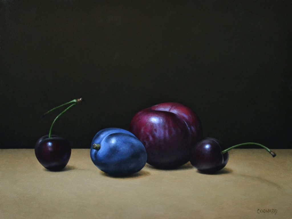 """2 Plums and 2 Cherries9""""x12""""sold"""