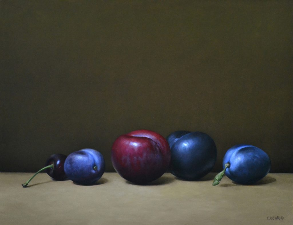 """4 Plums and a Cherry11""""x14""""sold"""