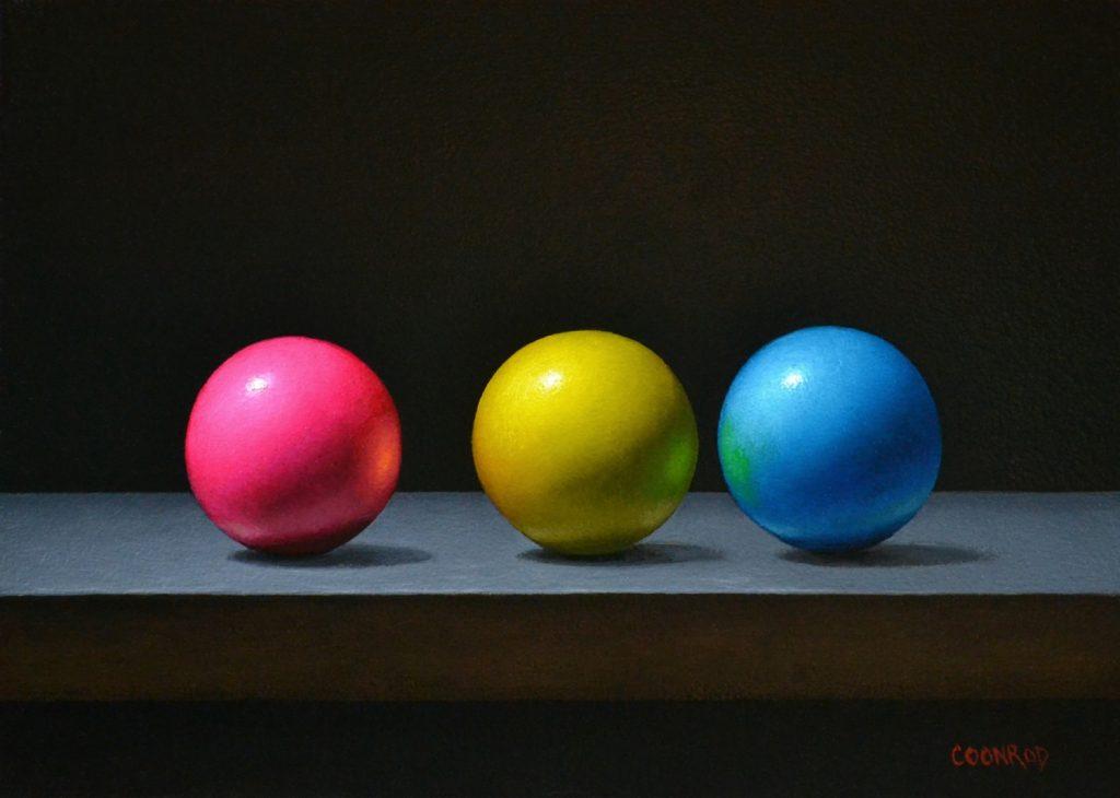 "Magenta, Yellow, and Cyan Gumballs6""x8""sold"
