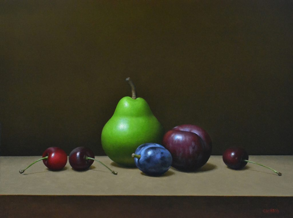"""Pear, Plums, and Cherries 12"""" x 16"""""""