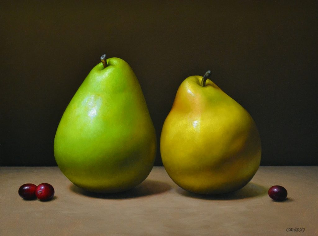 """Pears and Cranberries 9"""" x 12"""""""