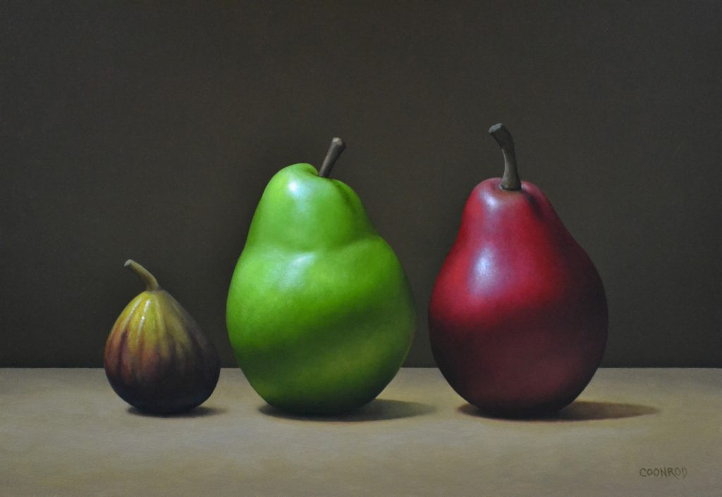 """Red and Green Pears with a Fig 12"""" x 16"""""""